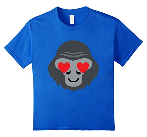 Kids Gorilla Emoji Heart & Love Eye Shirt T-Shirt Tee 6 Royal Blue (Youth Gorilla Costume)