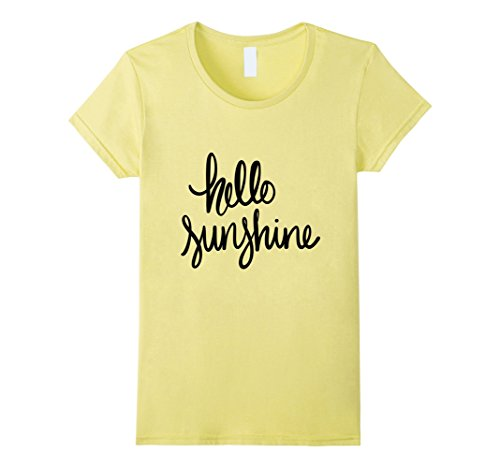 Womens Hello Sunshine hand lettered t-shirt Small Lemon (Yellow Sunshine T-shirt)