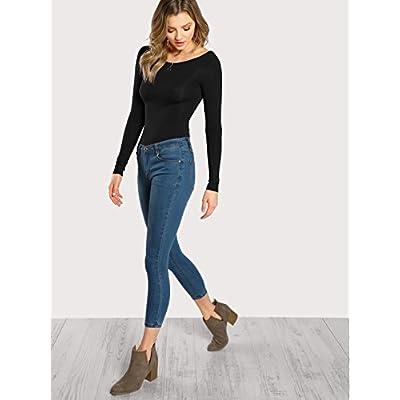 Verdusa Women's Long Sleeve Bodycon Leotard Bodysuit Jumpsuits: Clothing