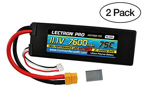(2 Pack) Lectron Pro 11.1V 7600mAh 75C Lipo Battery with XT60 Connector + CSRC Adapter for XT60 Batteries to Popular RC Vehicles for 1/10 Scale Cars, Trucks, and Buggies