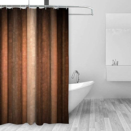 Emvency Shower Curtain Polyester 66x72 Inches Brown Earth Orange Copper And Pale Peach Abstract With Cool Glass And Vintage Stripe Design Pink Waterproof Adjustable Hook Bathroom Home Kitchen