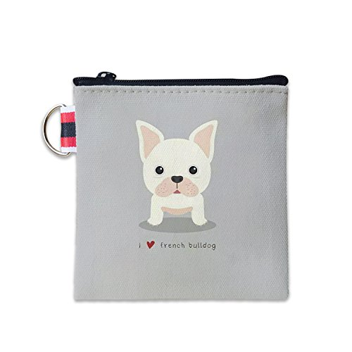 - French Bulldog Canvas Coin Purse Cash Bag Small Zipper Purse Wallets Mini Money Bag Change Pouch Key Holder Double Sides Printing