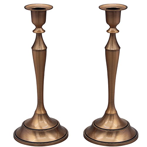 - Metal Taper Candle Holder,Set of 2,Copper