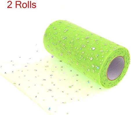 LYX スパンコール糸/スパンコールアメリカンメッシュロールスXingyue糸表のスカートのウエディングネット人形ガーゼPettiskirt、リボンパーティー装飾2つのロール25ヤード15センチ幅