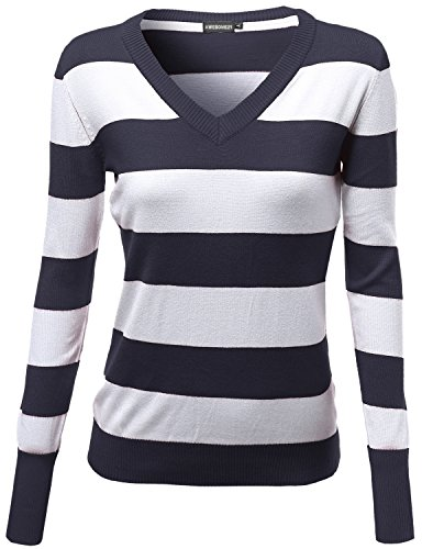 Awesome21 Basic Cotton Based V-Neck Stripe Long Sleeves Knit Sweatshirt Navy M