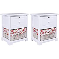 Giantex 2 Pcs 2 Tiers Nightstand End Table Wood Home Furniture Sofa Side Bedside Storage Organizer W/ Basket Lockable Drawer, White