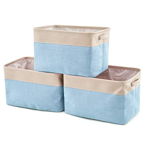 EZOWare Storage Bins Organizer, Set of 3 Foldable Collapsible Large Cube Fabric Linen Canvas Storage Baskets for Shelves Cubby Laundry Playroom Closet Clothes Shoe Baby Toy with Handles (Cream/Blue)