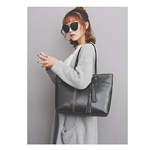 Bolsos de mujeres Señoras cuero imitación de taleguilla bolsos hombro negro para totalizadores de de las Greeniris moda wpq1B