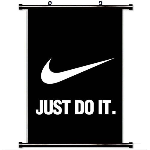 Nike Just Do It Dark Simple Minimal Logo Art Hero Wall Scroll Poster, Home