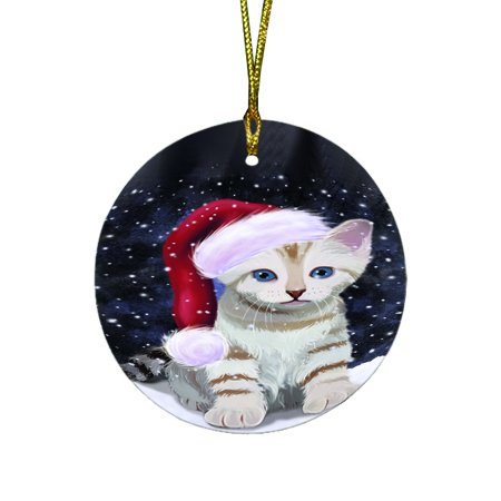 Let it Snow Christmas Holiday Bengal Cat Wearing Santa Hat Round Ornament D310