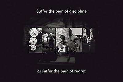 Pain of Discipline Bodybuilding Gym Motivation B&W Poster 13x19