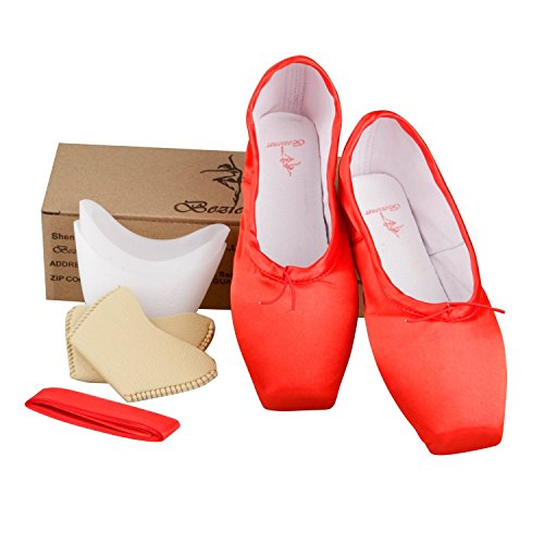 Bezioner Ballet Pointe Shoes Girls Womens Dance Shoes with Ribbon and Toe Pads pIxHQ