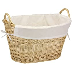 Household Essentials ML-5569 Willow Wicker Laundry Basket with Handles and Liner - Natural Brown