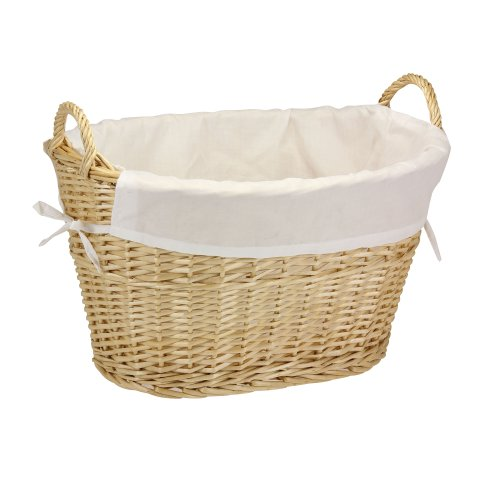 Household Essentials ML-5569 Willow Wicker Laundry Basket with Handles and Liner | Natural Brown (A Wicker)