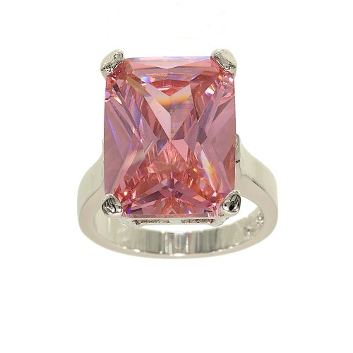 Very Large Pink Cubic Zirconia Single Stone Cocktail Ring with Silvertone Double Base Setting Size 10