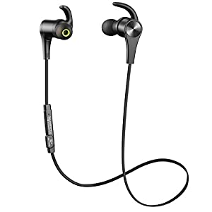 SoundPEATS Bluetooth Headphones In Ear Wireless Earbuds 4.1 Magnetic Sweatproof Stereo Bluetooth Earphones for Sports With Mic (Upgraded 7 Hours Play Time, Secure Fit, Noise Cancelling) - Black