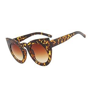 Vintage Cat Eye Sunglasses Women Top White Oversized Gradient Sun Glasses Women Leopard Black Round Shades,03