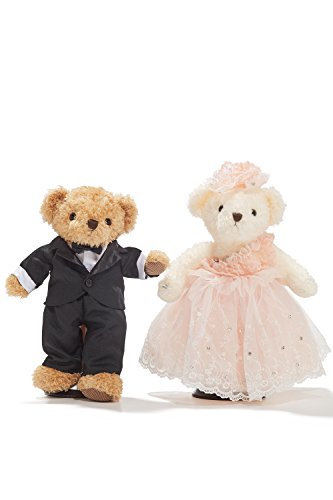 "Wedding Teddy Bears Just Married Bear Couple Newlyweds Toy Set 12"" (light brown, black, white, champagne pink)"