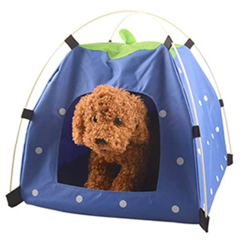 bluee VAXT Consecrate Kennel Cat House, Steer Outdoors Oxford Cloth Foldable Sun Predection Middle and Low Pet Dog Tent Nest (color   bluee)