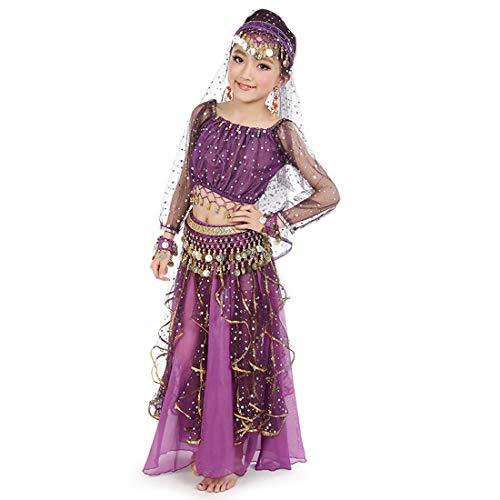 Maylong Girls Long Sleeve Arabian Princess Dress up Halloween Costume DW49 (Large, Purple) -