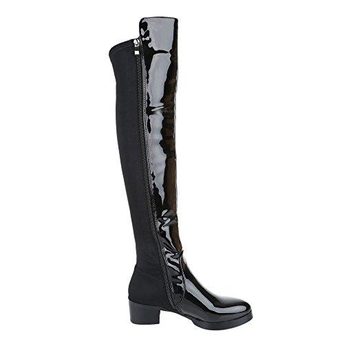 Ital-Design - botas clásicas Mujer negro brillante