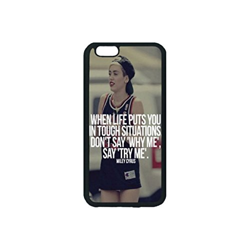 Dominc Custom High Quality TPU Iphone 6 Plus 6s Plus 5.5 inch Case MILEY CYRUS TRY ME QUOTE MUSIC LYRICS Personality Classic Design (Laser Technology)