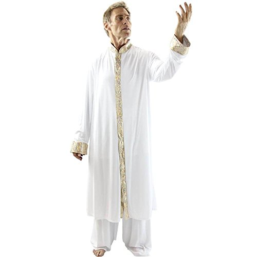 Danzcue Boys Worship Dance Stained Glass Robe, Black-Gold, L-XL]()