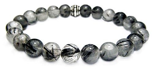 The Magic Is In You TOURMALINATED Quartz 8mm Round Genuine Crystal Gemstone Beaded Bracelet on Elastic Cord