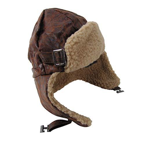 Brown Leather Aviator Helmet Warm Wool Bomber Pilot Trooper Hat