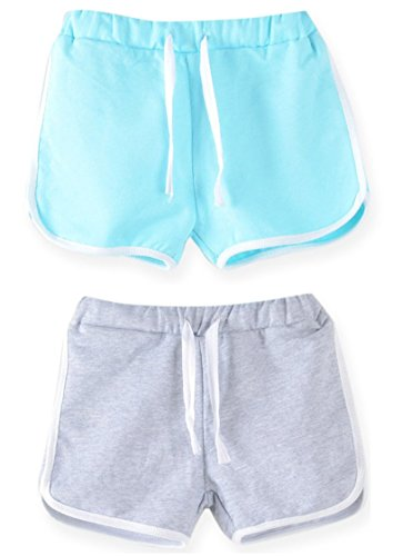 Syleia Girl Shorts Pack of 2 (Grey and Baby Blue)