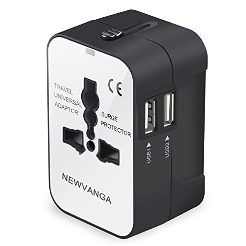 Travel Adapter, Worldwide All in One Universal Travel Adapter Wall Charger AC Power Plug Adapter with Dual USB Charging Ports for USA EU UK AUS, White by NEWVANGA