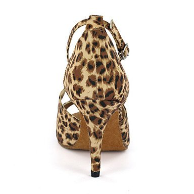 XIAMUO Anpassbare Damen Tanzschuhe Latein Kunstleder Ferse Multi-color/Leopard, Multi Color, US 9.5-10/EU 41/ UK 7,5-8/CN 42