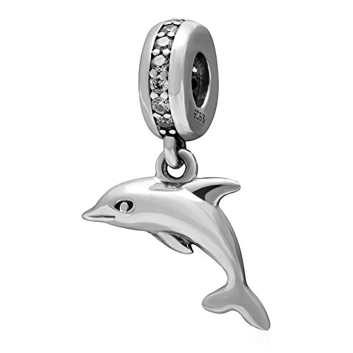 m -925 Sterling Silver Dangling& CZ stone Beads - European Compatible Brand Bracelet (Kids Playful Dolphins)
