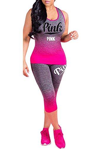 Pxmoda Women's 2 Pieces Bodycon Outfit Sleeveless Top Skinny Capri Leggings Set Tracksuit (2XL,Rose Red) (2 Piece Set Capri)