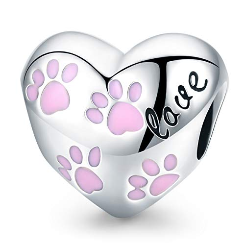 FOREVER QUEEN Heart Shape Charm Beads with Pet's Foot 925 Sterling Silver Pendant with Cut Cat Claw Fit Pandora Bracelet Necklace BJ09152