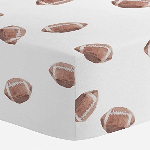 Football Crib Bedding - Carousel Designs Watercolor Football Crib Sheet - Organic 100% Cotton Fitted Crib Sheet - Made in The USA