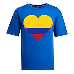 Brasil 2014 FIFA World Cup Theme Short Sleeve T-shirt,Football Background Mens Cotton shirts for Fans blue