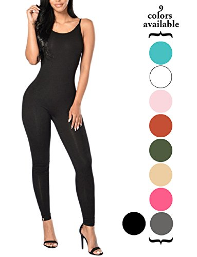 Amilia Womens Spaghetti Strap Bodycon Tank One Piece Jumpsuits Rompers Playsuit, Black, Large ()