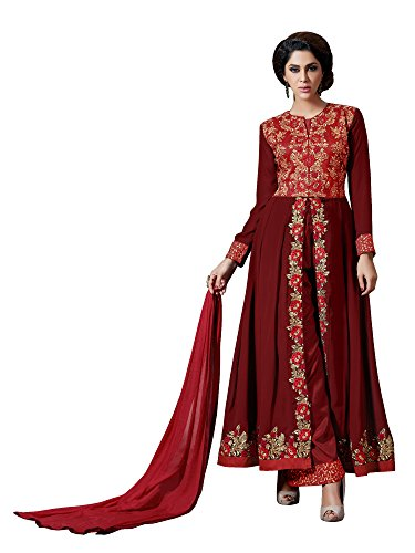 Sourbh Women's Maroon Faux Georgette Embroidered Semi-Stitched Partywear Dress Material by Sourbh