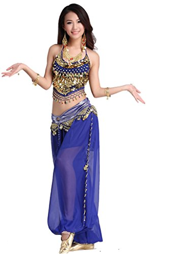 [ZLTdream Lady's Belly Dance Chiffon Banadge Top and Lantern Coins Pants Dark Blue, One Size] (Belly Dancing Dress)