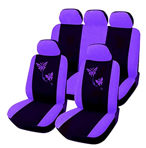 IF.HLMF Car Seat Covers for Women,Butterfly Embroidered Full Set Fluffy Pink Front Seat No Split Seat Toyota Fits Select Vehicles Car Truck Van SUV - Four Seasons Universal 9PCS, Purple
