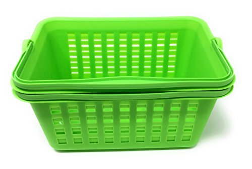 "Colored Rectangular Multi-Purpose Slotted Plastic Storage Baskets with Handle, Pack of 2, 11"" (Green)"