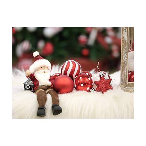Victor's Workshop Addobbi Natalizi 35 Pezzi 5cm Palle di Natale, Oh Deer Red e White Shatterproof Christmas Ball Ornaments Decoration for Christmas Tree Decor 3 spesavip