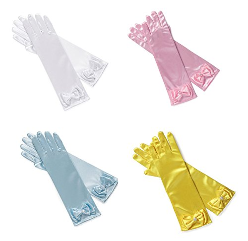 YallFairy 4-Pairs Little Girls Kids Solid Satin Long Finger Dress Gloves for Pageant Party (Pack-A)