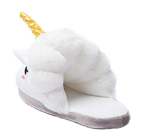 DELEY Adultos de dibujos animados de Animales Unicornio de Felpa de Algodón Zapatillas Slip On Hogar Cálido Zapatos Blanco