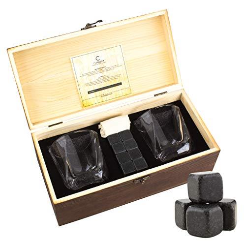 Whiskey Stones Gift Set by Cumbreca | Whiskey Rocks | Chilling Stones + Scotch Bourbon Whiskey Glasses | Gift for Him Men Husband Dad Boyfriend Anniversary