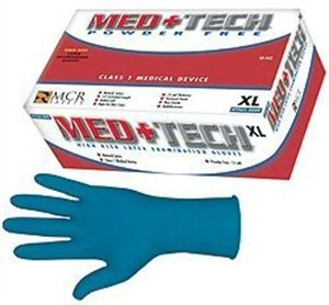 MCR Safety 5049XL 12-Inch Med-Tech Medical Grade NFPA Certified Powder Free High Visibility Gloves with Rolled Cuff, Blue, X-Large, 1-Pair