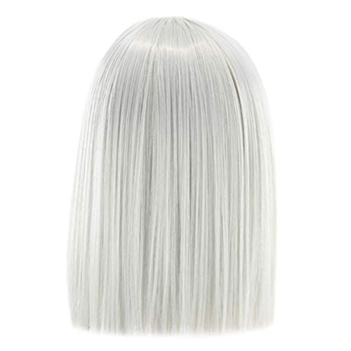Bokeley 16inches Short Straight Heat Resistant Synthetic Hair Gray Nature Black Women Party Cosplay Wigs (Silver)]()