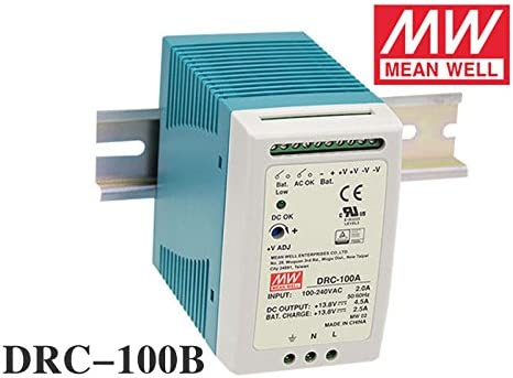 96.6W CH1 27.6V2.25A CH2 27.6V 1.25A Mean Well DRC-100B DIN Rail Single Output Power Supplies with Battery Charger UPS Function 90~264 VAC 127~370 VDC Input.