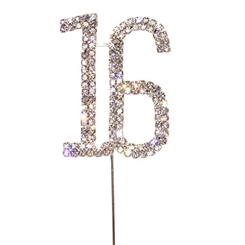 Maticr Glitter Sweet 16 Cake Topper, Sweet Sixteen Candles 16th Birthday Party Supplies Decorations Sliver